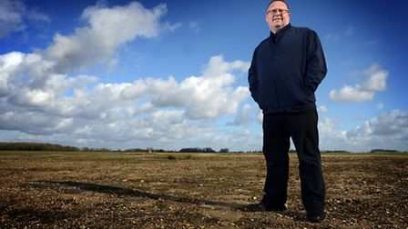 Chris Coverdale on the few yards of concrete which are all that remains of the runways at RAF Downha