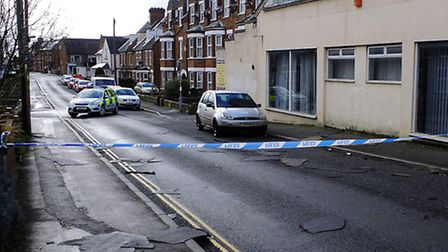 Police sealed off Church Street, in Hunstanton, after part of the roof of the former Witley Press bu