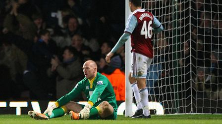 More misery for John Ruddy and City as West Ham's second goal goes in on Tuesday night.