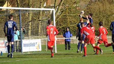 Hadleigh v Wisbech - FA Vase action. Pressure on the Wisbech goal.