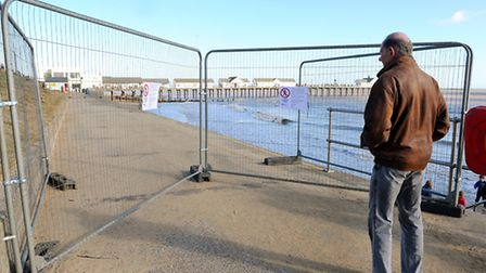 A small stretch of Southwold promenade closed off for safety reasons.Picture: James Bass