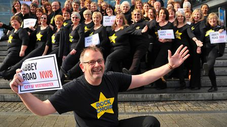 All set for their recording session at the famous Abbey Road - Rock Choir, pictured with their leade