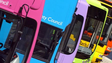 Library picture of Norwich Park and Ride buses - including Norwich airport - on display in the city