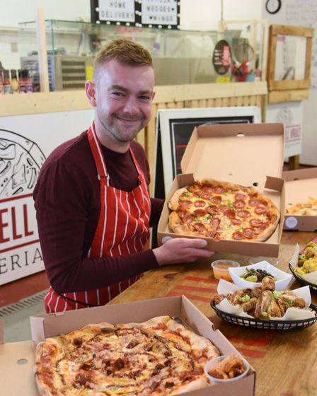 Sam Brown of Gingerlily Catering, at his new venture, the Redwell Vault Pizzeria, with stonebaked ar