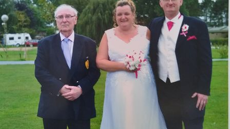 Tracey and Andy Brasier with his father, Tony. Picture: Tracey Brasier