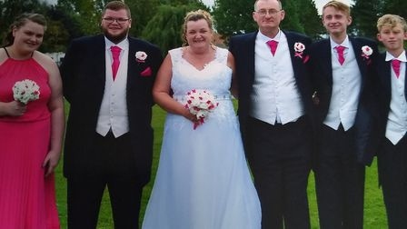 Tracey Brasier with her two children Ryan and Jemma Shackcloth and Andy's two children Jamie and Lia