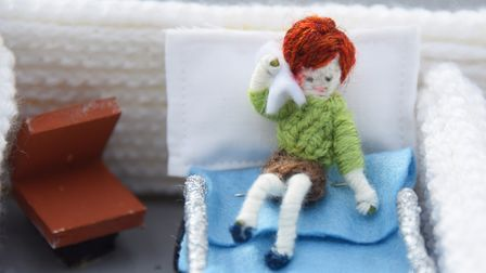 One of the patients in knitter Margaret Seaman's Knittingale Hospital. Picture: DENISE BRADLEY