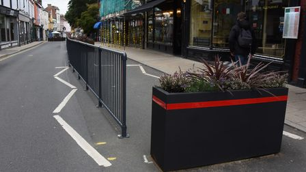 The barriers in place to restrict traffic in St Benedicts Street. Picture: DENISE BRADLEY
