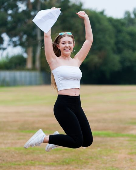 Georgia Thrower celebrates her A-Level results in August Picture: Springwood Sixth Form