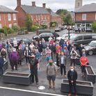 Traders and locals pictured with the planters in the middle of Reepham. Pictures: BRITTANY WOODMAN