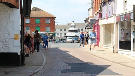 The re-opening of some shops in North Walsham following lockdown saw shoppers return to the town cen