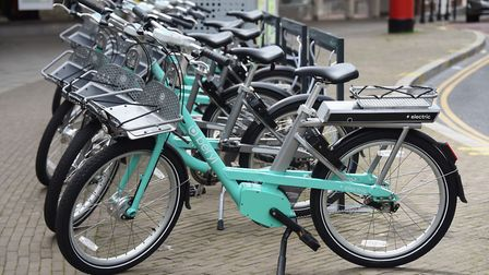 One of the new electric Beryl bikes at a docking station. Picture: DENISE BRADLEY