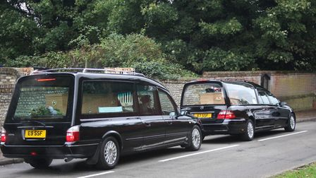 The funeral cortege for Robert and Paula Bateman, who died in a crash. Their funeral took place at S
