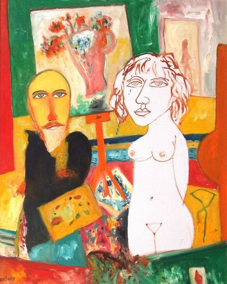 Self-portrait with nude by John Bellamy, which has a pre-sale estimate of 3,000-5,000 and is part of