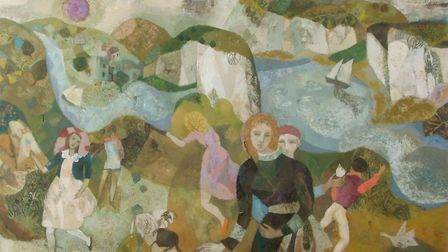 Figures in extensive landscapes, a pair of oils on board by Gwyneth Johnstone, which have a pre-sale