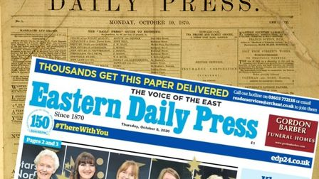 The first EDP front page printed in 1870 and how the newspaper looks in 2020. Pictures: Archant