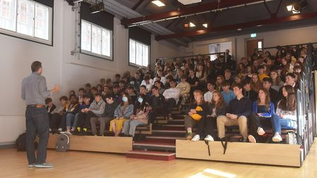 Tom Oxley from Bamboo Mental Health speaking with pupils at Norwich School for world mental health d