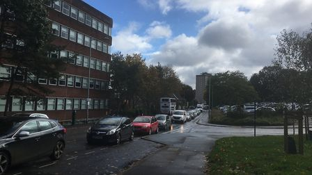 Queues have been formed along Rouen Road due to the road closure on Carrow Road on Saturday. Picture