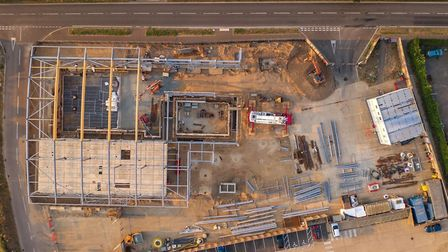 An aerial photogrpah of the new state-of-the-art Sheringham Splash leisure centre tbeing built. Pict