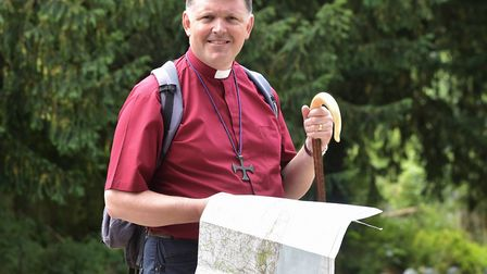 The Rt Rev'd Graham Usher, Bishop of Norwich, stops off at St Edmunds Church in Taverham during his