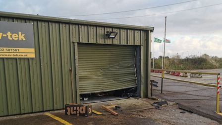 The damage caused to the garage at ev-tek as a result of the robbery. PHOTO: Richard Gapper
