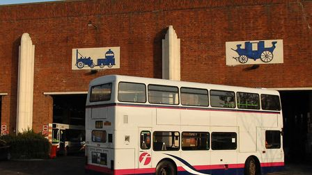 The bus depot on Caister Road, Great Yarmouth. A driver is in hospital with coronavirus First Bus ha