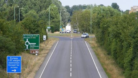 The A143 near Ditchingham.