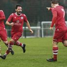 Celebrations after Dan Crosby scores for Sheringham in their 3-0 win over Needham Market Reserves Pi