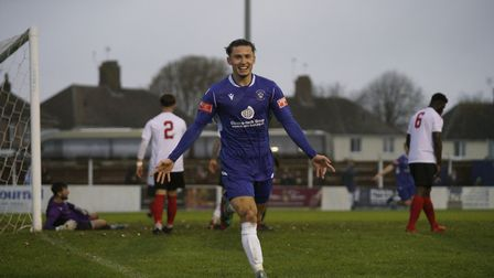 Connor Parsons celebrates his first goal for Lowestoft Town in their win over Lewes Picture: Shirley