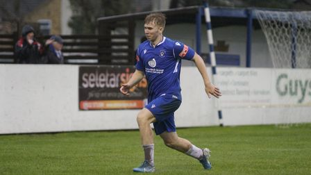 Lowestoft's Kieran Higgs celebrating his second goal in the win ovwer Lewes Picture: Shirley D Whit