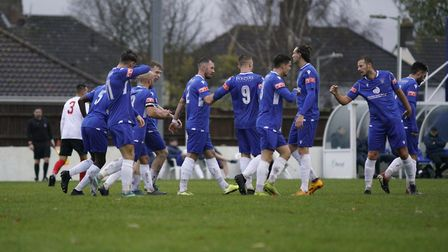 Lowestoft players celebrating the first goal in their 3-1 home win over Lewes in the FA Trophyof the