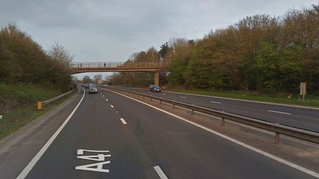 The A47 at Dereham. The road has been closed in both directions while police are dealing with a cras