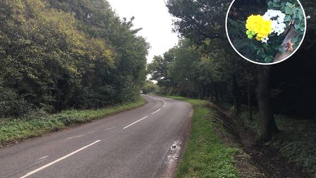A floral tribute has been left at the scene of a fatal crash in Shropham, near Attleborough. Picture