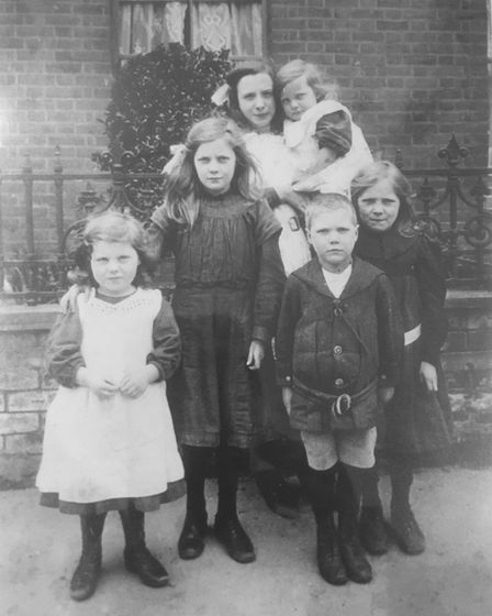 Eva (far right) pictured outside 72 Glebe Road in Norwich with sisters Gladys, Doris and Ethel, hold