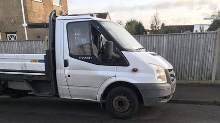 Luke's work van seen on Shaw Avenue in Carlton Colville yesterday with its right hand window smashed