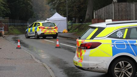 Police at the scene of where Thomas Moore died in North Walsham. Picture: Casey Cooper-Fiske