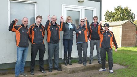 Representatives from Earsham FC outside the old Princess Way pavilion