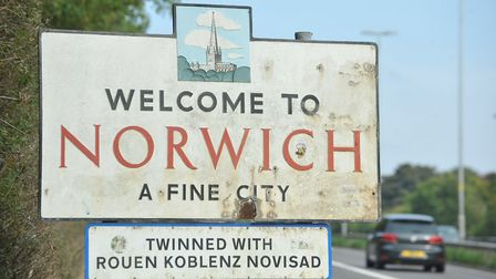 Welcome to Norwich sign on the A11 Newmarket Road. Photo: Bill Smith