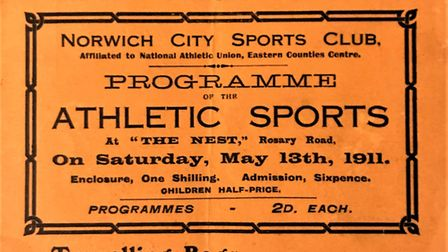 The programme front cover from the Norwich City Sports Club event at the Nest in 1911 Picture: Sport
