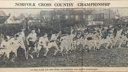 The start of the Norfolk Senior Men's cross country at Gorleston in 1933 Picture: Archant
