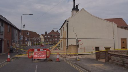 The house on London Road in Dereham which was damaged by a car. Byline: Sonya Duncan (C) Archant 2