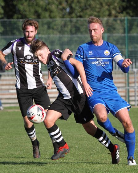 Action from Kirkley & Pakefield's 4-3 win over Long Melford Picture: Bryan Grint