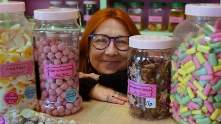 Fay Dewing, owner of Sew Sweet in Fakenham, with the old-fashioned style jars of sweet favourites. P