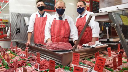 Terry Langham, centre, of Terry's Butchers in Dereham, with his son Justin, right, and Jack Veal. Pi