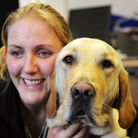 Siobhan Meade with her guide dog Mac.Picture: James Bass