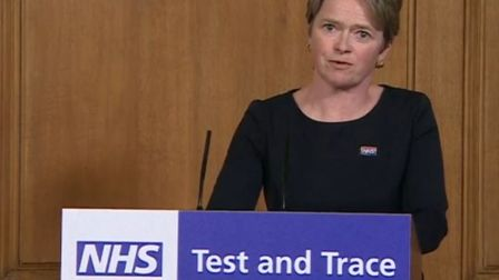 The head of national test and trace Baroness Dido Harding during a media briefing in Downing Street,