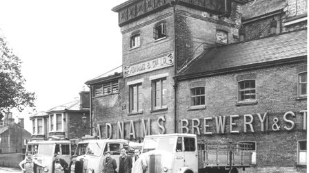Drays outside the brewery in the 1950s. Picture: Courtesy of Adnams
