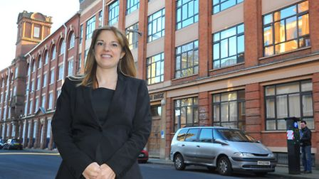 Claire Heald principal of Jane Austen College outside the building on Colegate, Norwich. Photo: Stev