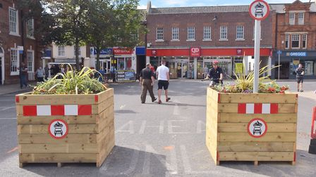 Planters in New Market, Beccles, were illegally removed and damaged. PHOTO: Sonya Duncan