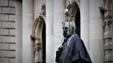 A statue with bird droppings in Belfast - presumably it's now REALLY LUCKY. Picture: Getty Images/iS